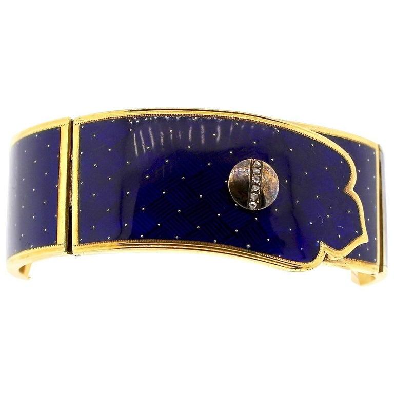 Victorian Blue Guilloché Enamel Gold and Diamond Cuff Bracelet