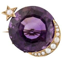 15 Karat Amethyst Moon Star Watch Pin