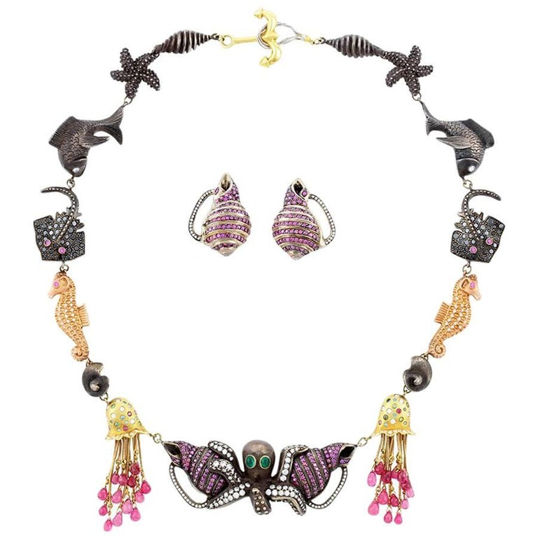 Moonlight Midnight Ocean Birthday Party Necklace and Moonlight Shell Earrings