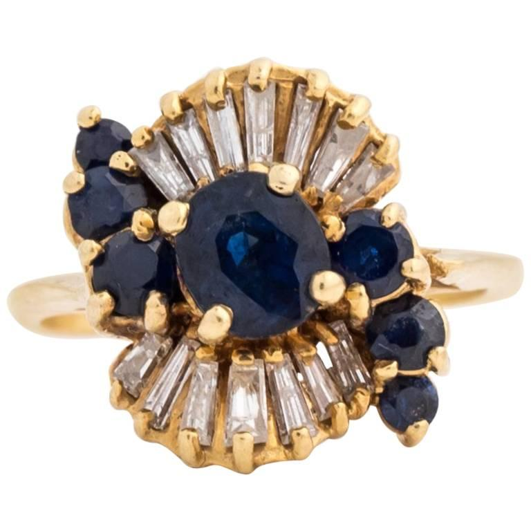 1980s Sapphire and Diamond and 18K Gold Ring