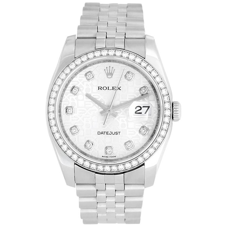 Rolex Stainless Steel Datejust Diamond Bezel and Dial Automatic Wristwatch