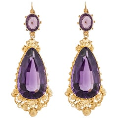 22 Karat Yellow Gold Antique Amethyst Earrings
