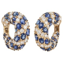 18 Karat Diamond Sapphire Loop Earrings