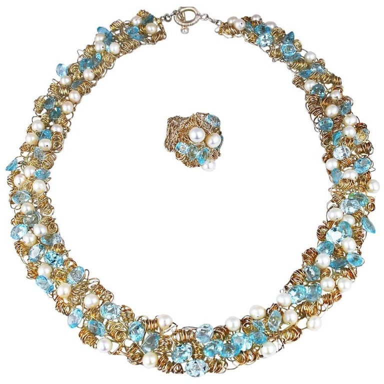 Nikki Feldbaum Sedacca Pearl Aquamarine Necklace Ring Set For Sale
