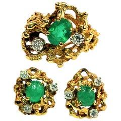 Vintage Free Form Emerald Diamond Gold Ring Earrings Set
