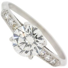 Vintage 1.11 carat Round Diamond Platinum Engagement Ring