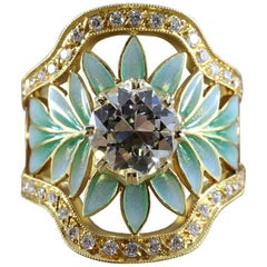 Masriera Diamond Enamel Plique-a-Jour Gold Engagement Ring