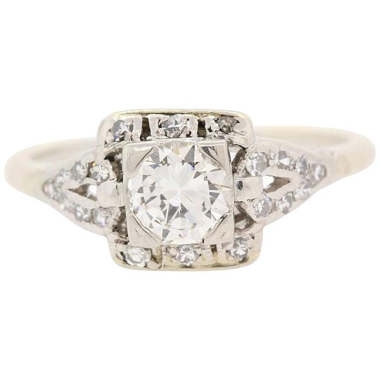 1930s Diamond Platinum Engagement Ring For Sale