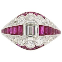 Emerald Cut  Diamond & Ruby Platinum Ring