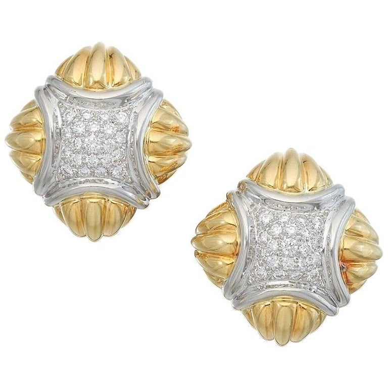 Hammerman Brothers Diamond Gold Pierced Earclips