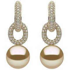 Yoko London Golden South Sea Pearl and Diamond Hoop Earring 18 Karat Yellow Gold