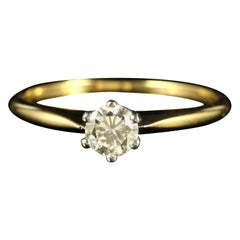Antique Victorian Diamond Solitaire Engagement Ring 18 Carat Yellow Gold