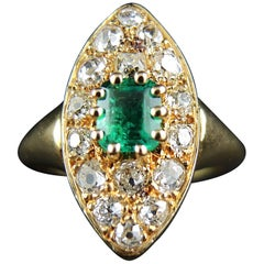 French Emerald Diamond Gold Navette Ring