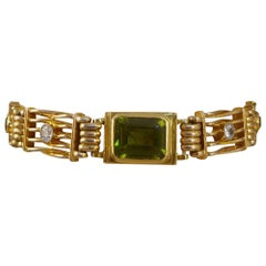 Edwardian Gate Bracelet Set with Peridots and Diamonds in 15 Carat Gold