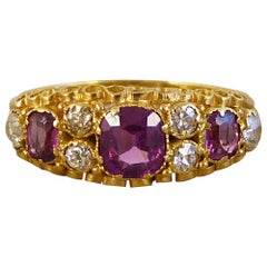 Victorian Almandine Garnet and Diamond 15 Carat Gold Ring
