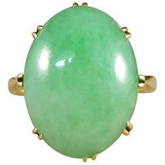 Antique Edwardian Jade Ring in 18 Carat Gold