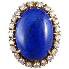 Vintage Large Lapis Lazuli and Diamond Ring in 18 Carat Gold