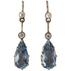 1930s Aquamarine, Pearl and Diamond Drop Earrings in 18 Carat White Gold
