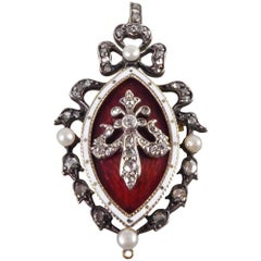 Victorian Blood Red and White Enamel, Pearl and Diamond Pendant