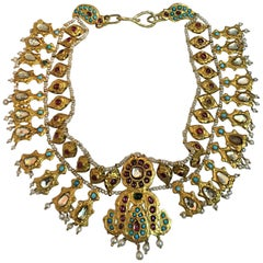22 Karat Gold Rajasthan Mughal Necklace with Ruby, Turquoise and Pearl