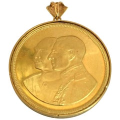 22 Karat Gold Medal with Ring for 50th Anniversary of the Pahlavi Kingdom