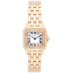 Cartier Ladies Yellow Gold Diamond Panther Quartz Wristwatch