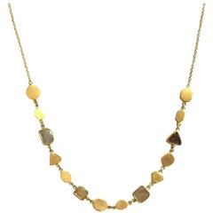 Julius Cohen Natural Color Diamond Slice and 24 Karat Gold Geometric Necklace