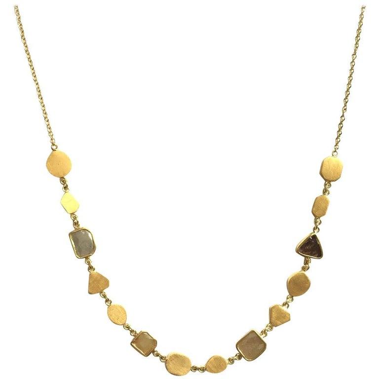 Julius Cohen Natural Color Diamond Slice and 24 Karat Gold Geometric Necklace