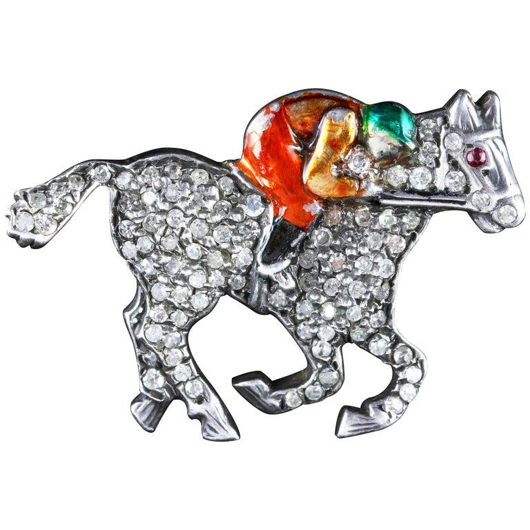 Antique Victorian Diamond Race Horse Brooch with Jockey 1.35 Carat Diamonds