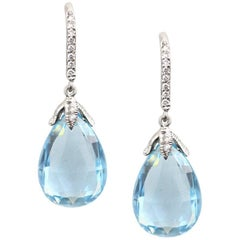 Julius Cohen Briolette Aquamarine Diamond Drop Earrings