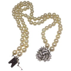 1950s Double Strand Cultured Pearl Diamond Clasp Necklace