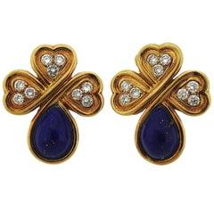 Christian Dior Diamond Lapis Gold Earrings