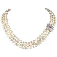 Vintage Triple Strand Akoya Pearl Ruby Diamond Clasp