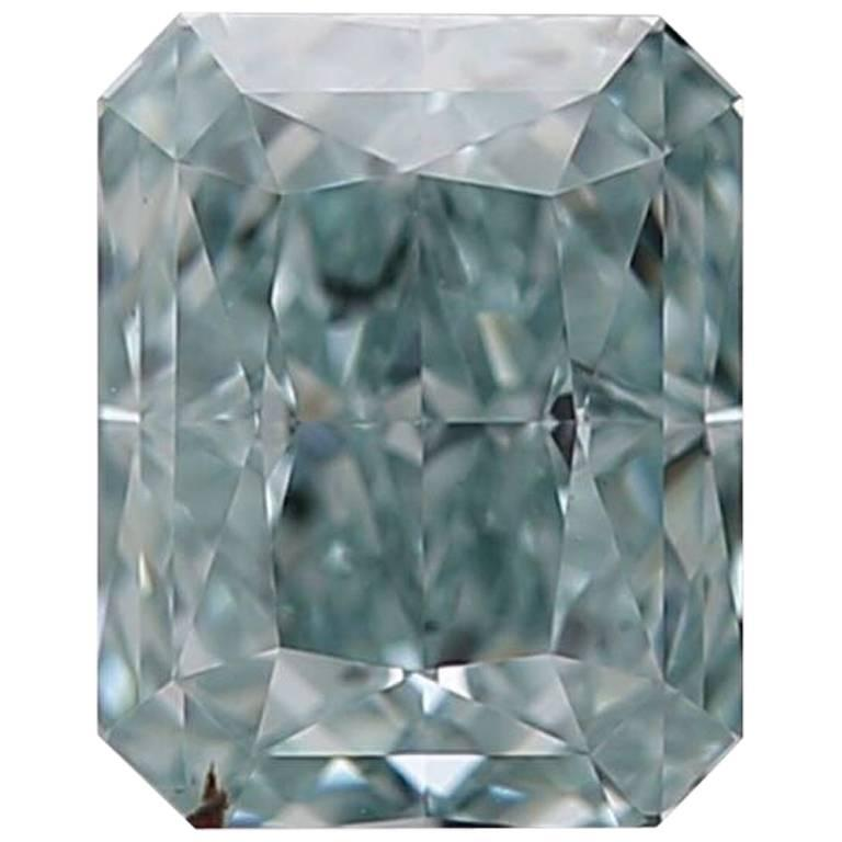 Exceedingly Rare GIA Certified 0.90 Carat Fancy Intense Blue Green VS2 Diamond