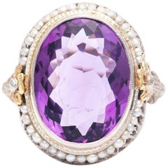 Art Deco Flora Amethyst and Pearl Ring in Yellow, White Gold