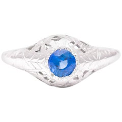 Handcrafted Art Deco Filigree Sapphire Solitaire Ring in 18 Karat White Gold