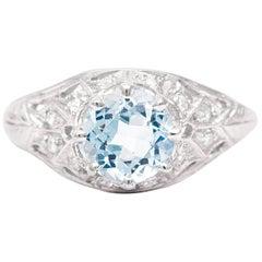 Art Deco Aquamarine and Diamond Filigree Ring in Platinum