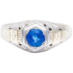 Art Deco Hand Engraved Sapphire Men's Ring in White and Yellow Gold