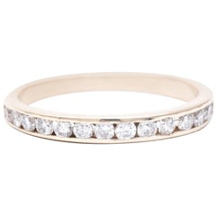 Channel Set Diamond Wedding Band in Yellow Gold