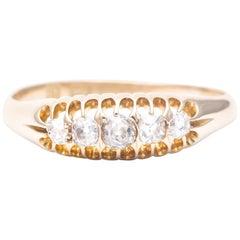 Edwardian Five-Stone Diamond Wedding Band in 18 Karat Yellow Gold