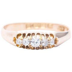 English Five-Stone Diamond Wedding Band in 18 Karat Gold