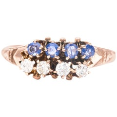 Victorian Sapphire and Diamond Ring in Yellow Gold