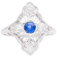 Sapphire and Diamond Filigree Ring in 18 Karat White Gold