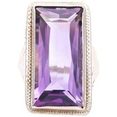Art Nouveau Amethyst Solitaire Filigree Ring