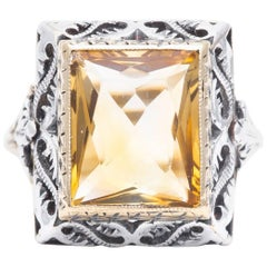 Art Deco Citrine Solitaire Filigree Ring in Yellow Gold