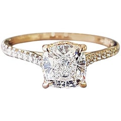 GIA Certified 1.20 Carat Cushion Cut G VVS1 Diamond Engagement Ring