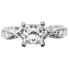 GIA Certified 0.85 Carat Princess cut G VS1 Tacori Ring