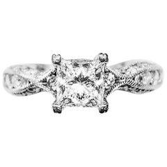 GIA Certified 0.85 Carat Princess cut G VS1 Tacori Ring