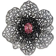 Alex Soldier Pink Crystal Black Spinel Dark Sterling Silver Brooch Pendant