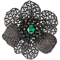 Alex Soldier Green Crystal Black Spinel Dark Sterling Silver Brooch Pendant